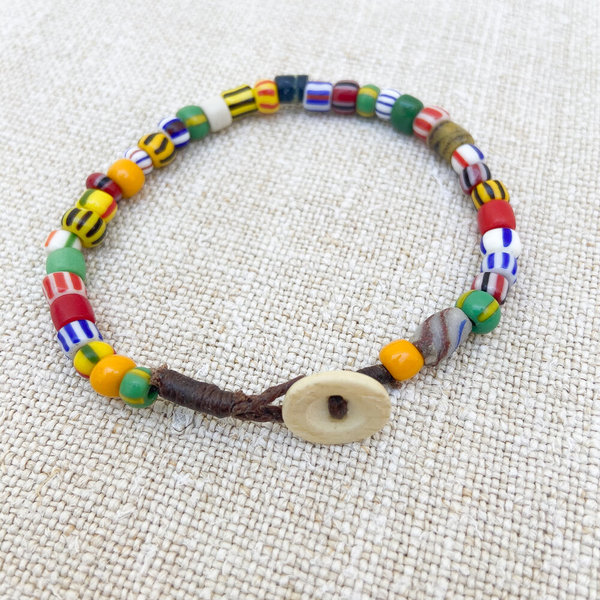 UNISEX MADE SOLID Antique African Trade Bead Bracelet