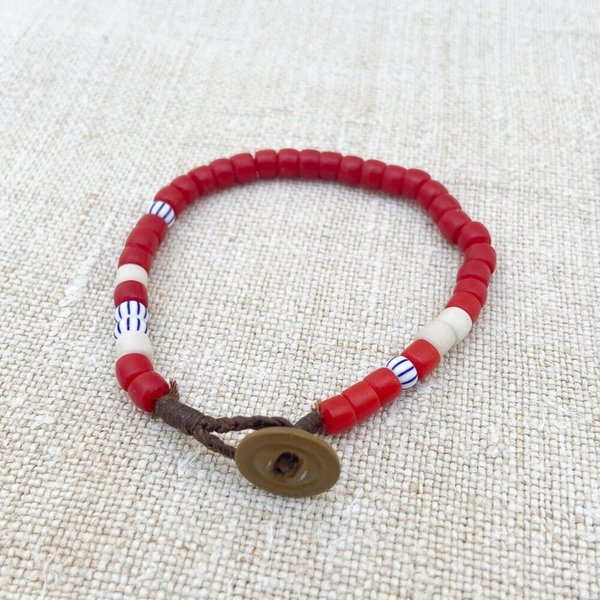 Unisex Made Solid Antique African Trade Bead Bracelet - WHITE/BLUE