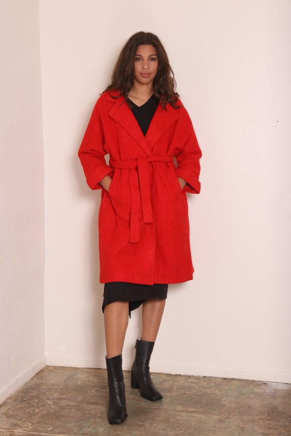 """INTENTIONALLY __________."" KARA Wool Trench - Red"