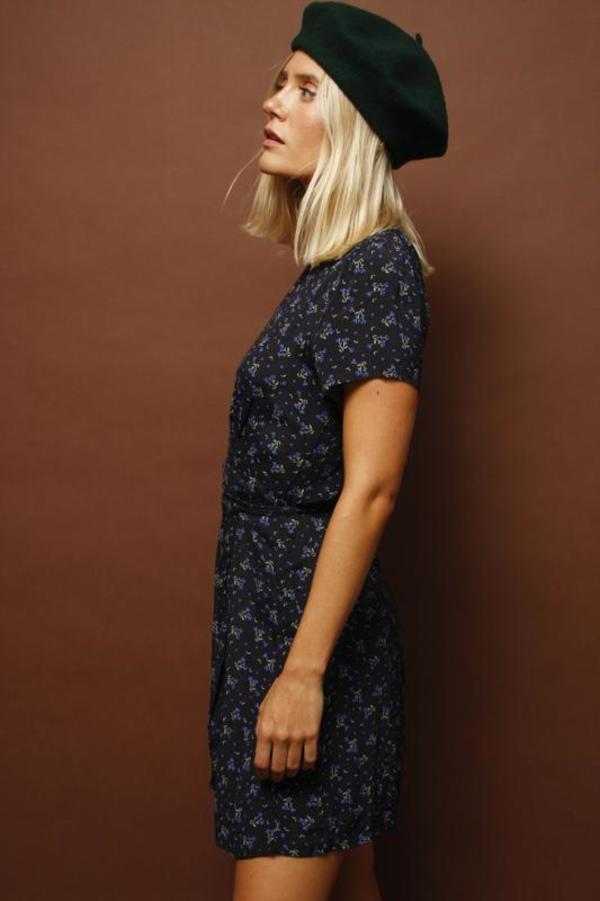 Olivaceous LAVENDER FIELD MINI WRAP DRESS - BLACK