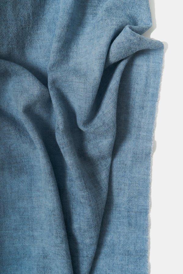 Oyuna Ambra Woven Luxury Wool and Cashmere Shawl - Azzuro