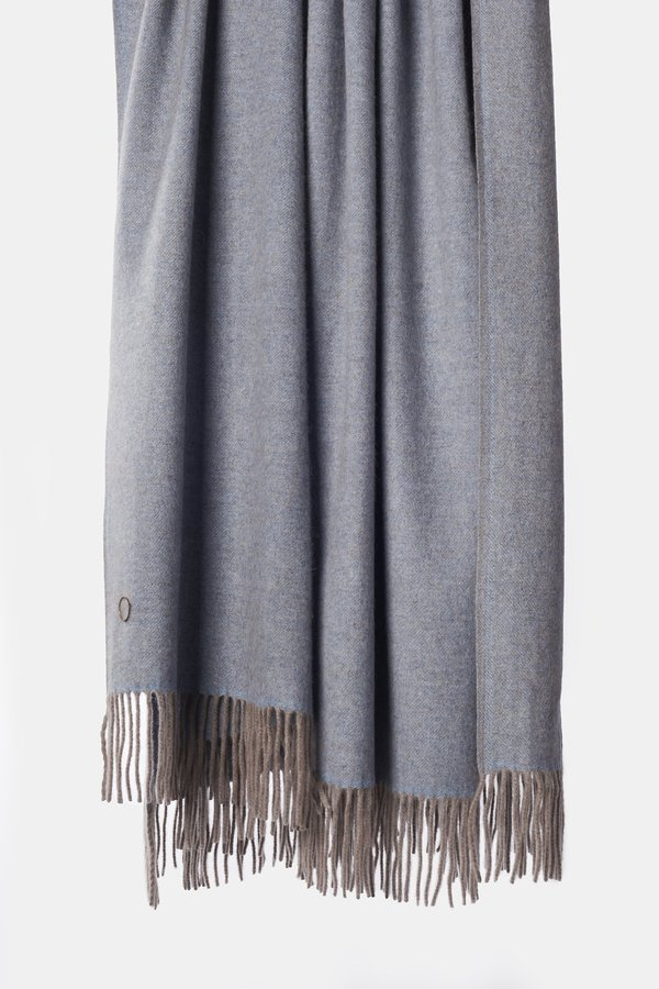 Oyuna Uno Classic Fringed Two-Tone Cashmere Throw - Blue/Taupe