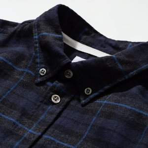 Norse Projects Anton Brushed Flannel Shirt - Navy Check