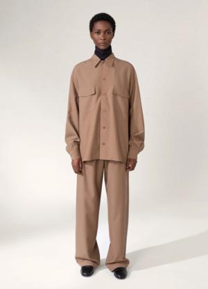 Unisex  Lemaire Convertible Collar Shirt - Cub Brown