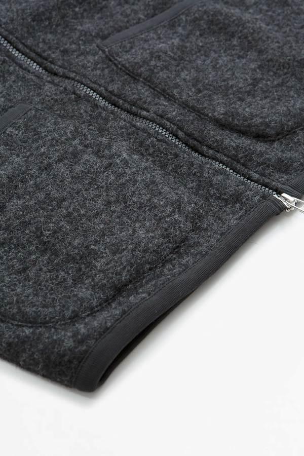 Universal Works Zip Waistcoat Wool Fleece Vest - Charcoal