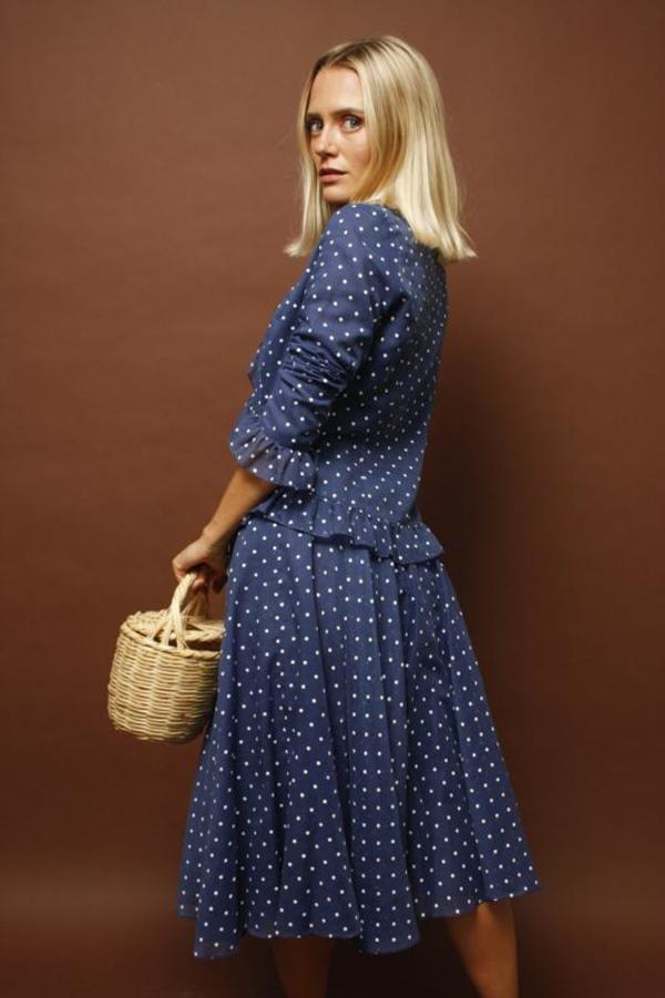 Vintage 80's Does 40's Polka Dot Dress Set