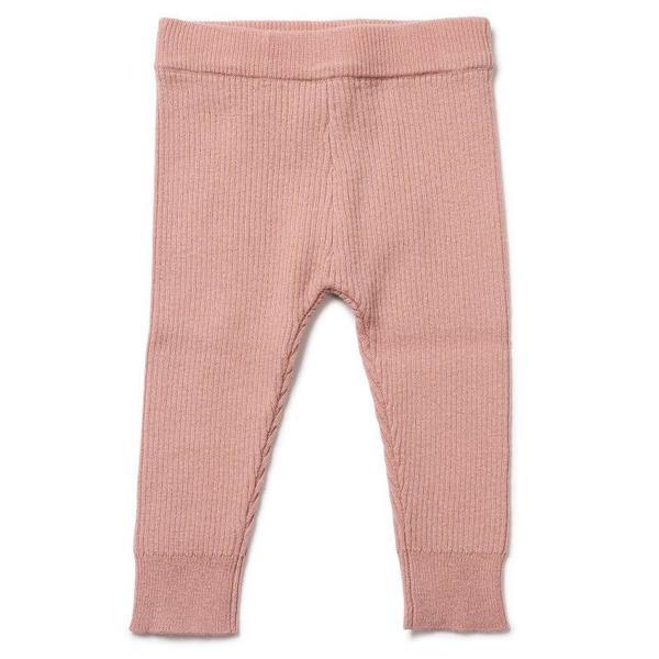 Kids Bonton Ribbed Velvet Leggings - Pink