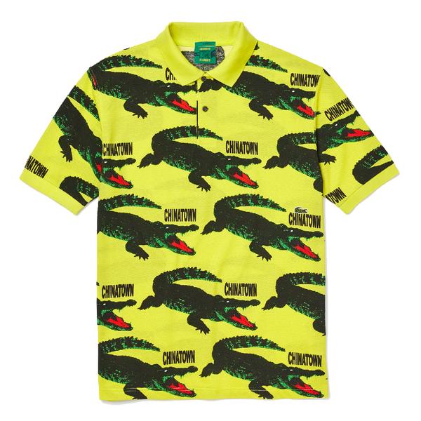 Lacoste X Chinatown Market Ribbed Collar Shirt - Lemon Tree/Multicolor