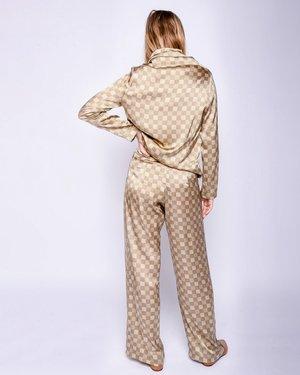 Baserange Jackson Silk Pants - Green Checks