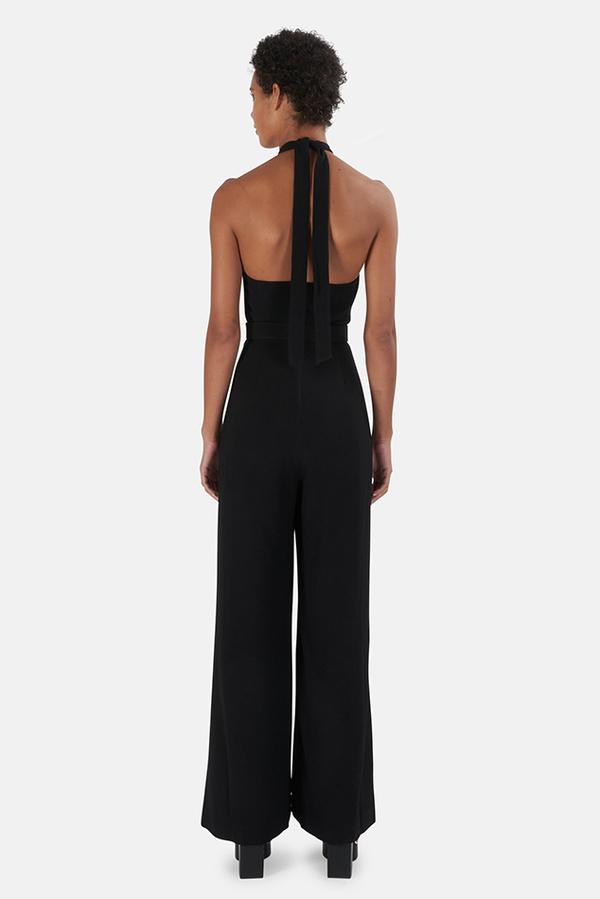 Zimmermann Crepe Belted Jumpsuit - Black