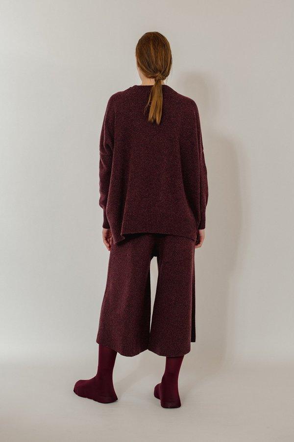 Oyuna Aila Jersey Knit Cashmere Pullover - Wine Mix