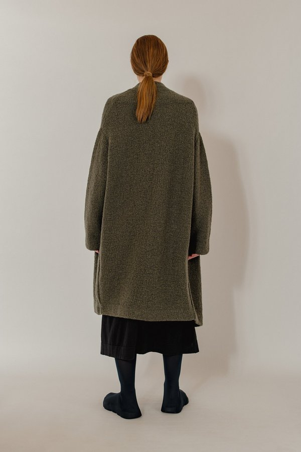 Oyuna Batu Cashmere and Wool Boucle Knit Coat - Star Olive