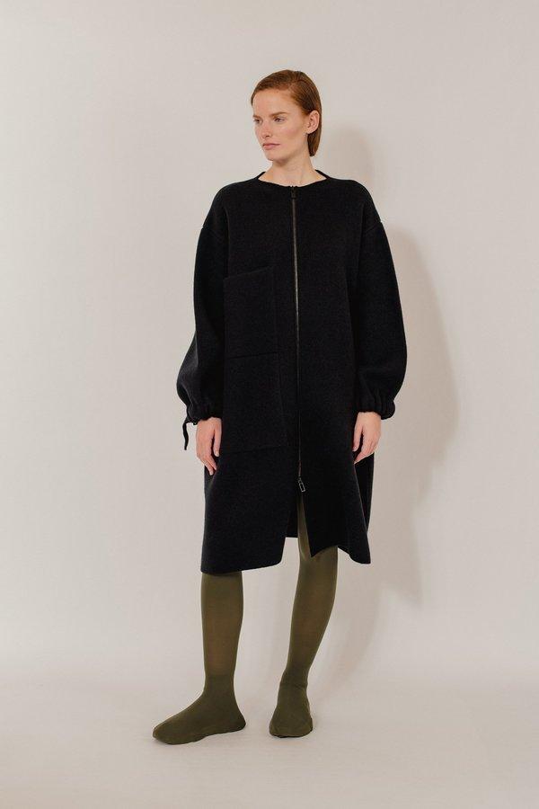 Elena Knitted Wool Blend Coat - Black Mix