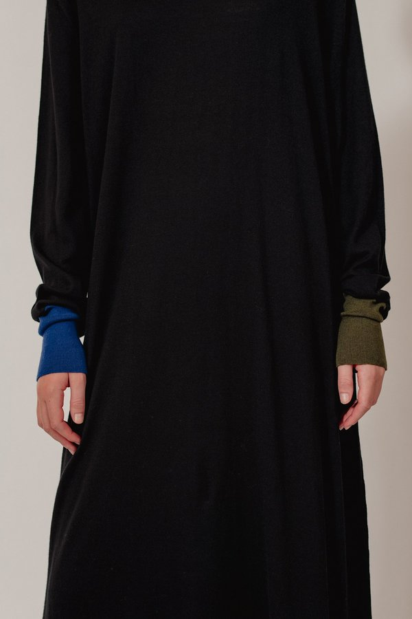 Oyuna Erin Jersey Cotton Cashmere Dress - Black Look
