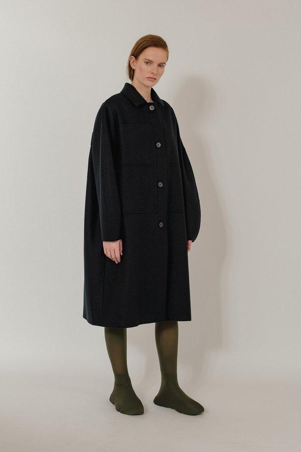 Unisex Oyuna Luz Woven Wool Blend Collared Coat - Black