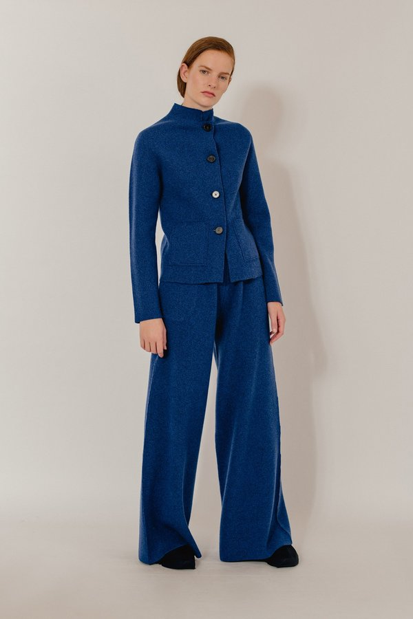 Oyuna Mila Knitted Wool Blend Maxi Trousers - Star Blue