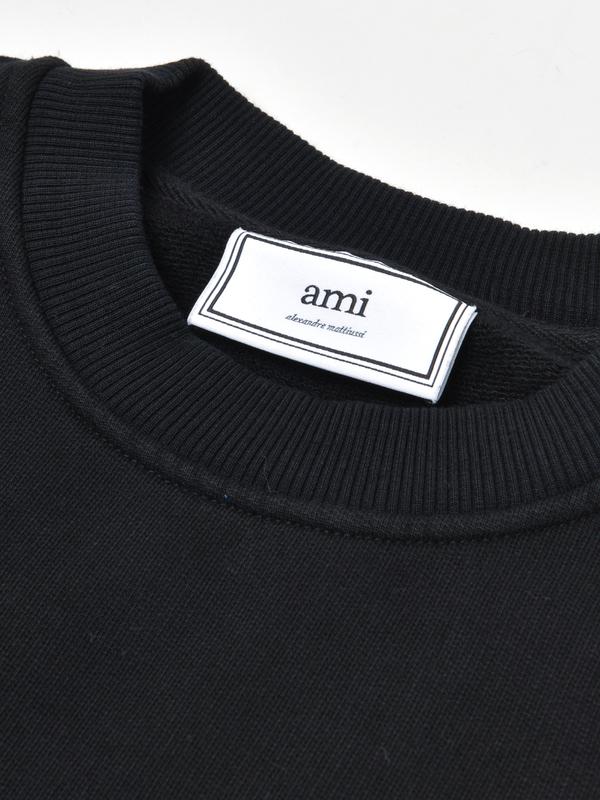 ami paris CREWNECK AMI DE COEUR SWEATER - BLACK