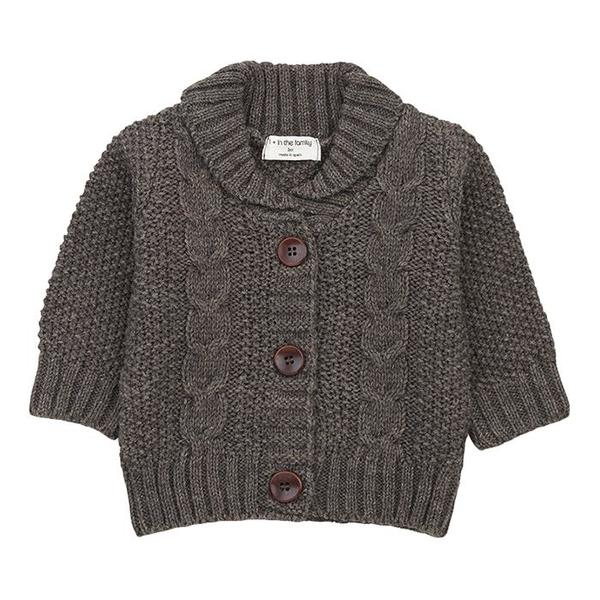 Kids 1+ In The Family Jungfrau Textured Knit Cardigan - Grey
