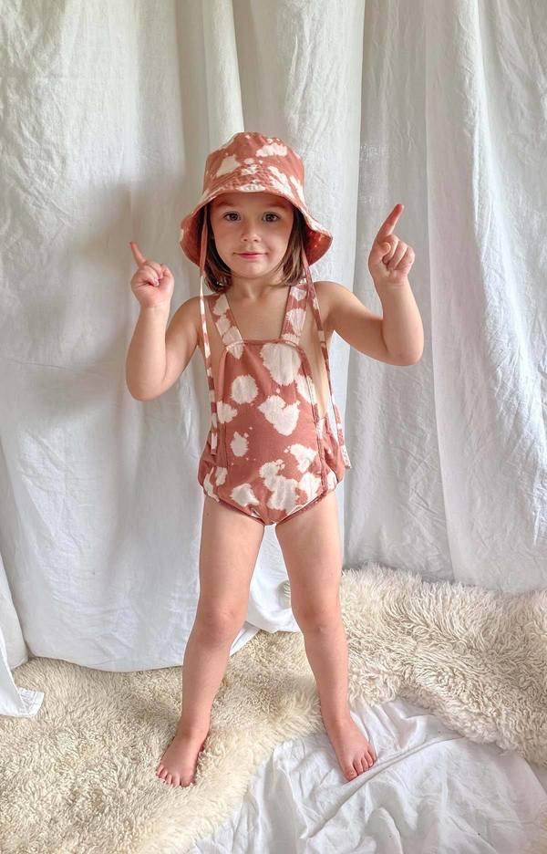 kids Noble X Mama Organic Sun Suit - Milkpaint/Ochre