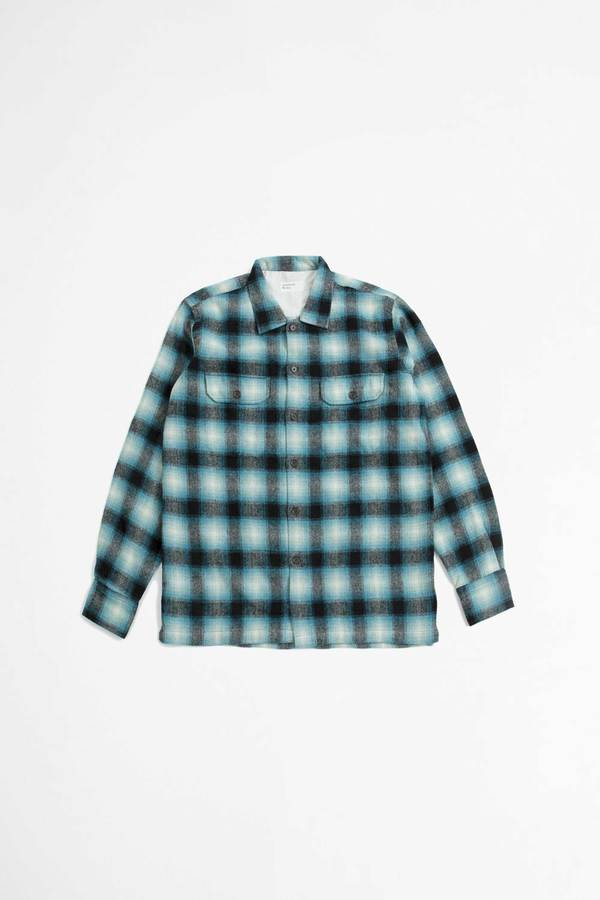 Universal Works Texas Wool L/S Utility Shirt - Plaid Turquoise