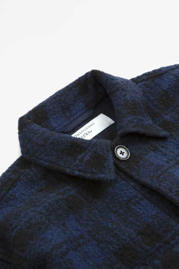 Universal Works Lumber Wool Sherpa Fleece Jacket - Navy