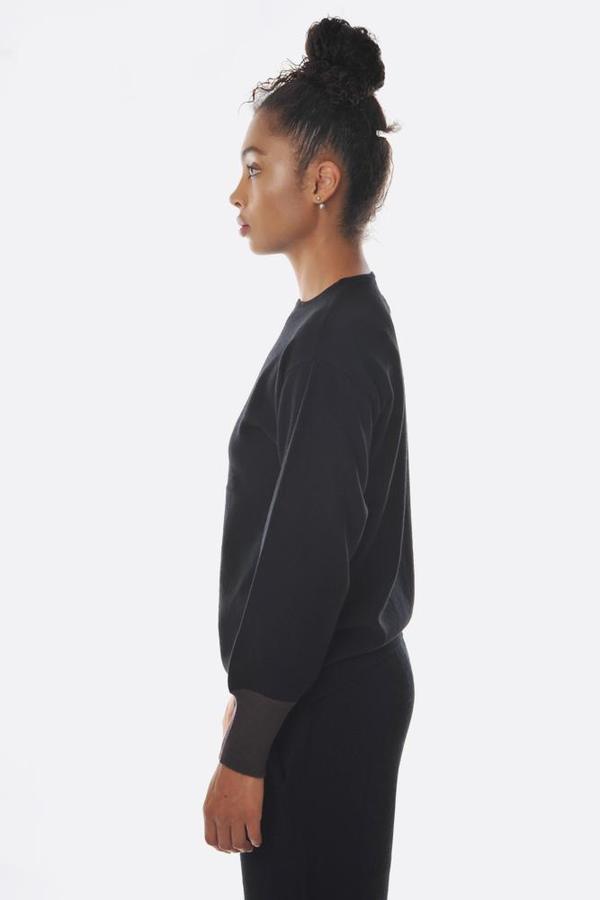 Oyuna Contrast Cuff Cashmere Blend Pullover - Black