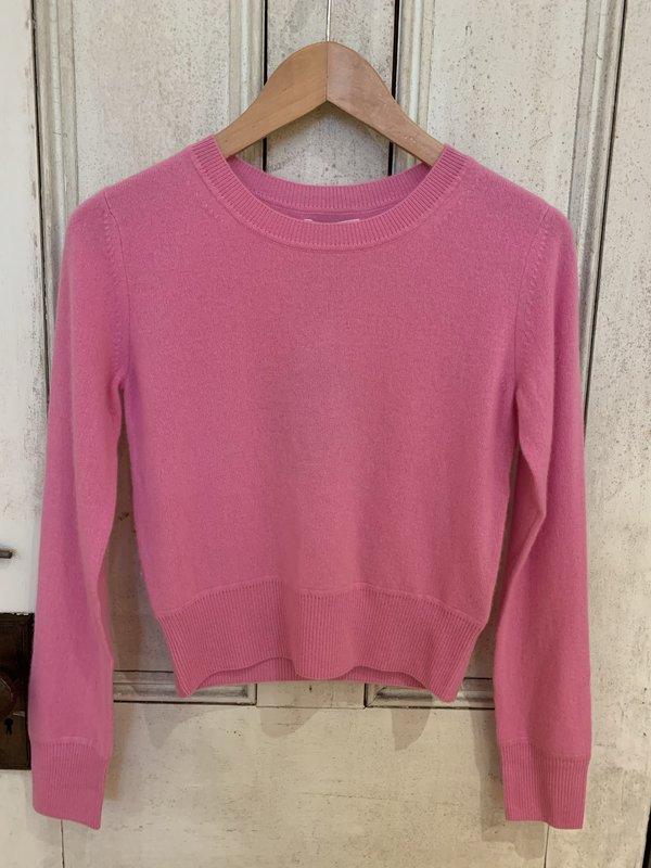 Naadam Cropped Crew Cashmere Pullover - Bubblegum Pink