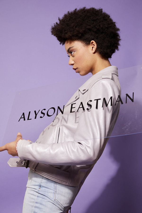 alyson eastman PEARLIZED LEATHER MOTO JACKET - Lavender