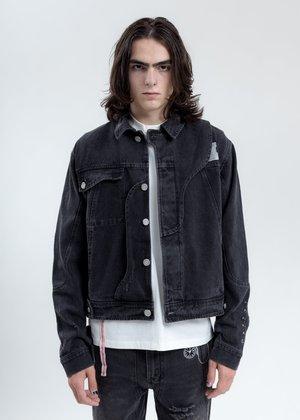 C2H4 Distressed Chaotic Denim Jacket - Black