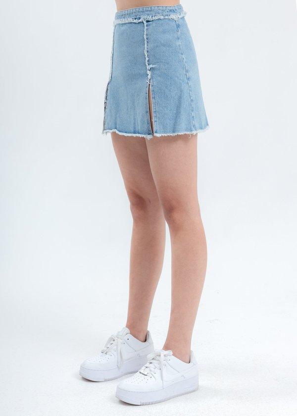 Danielle Guizio Distressed Denim Skirt