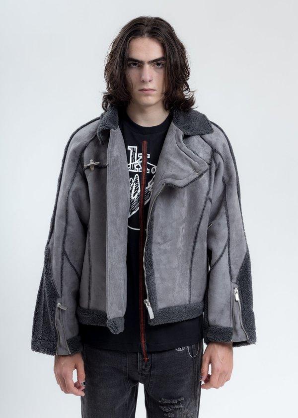 C2H4 Paneled Streamline Shearling Jacket - Grey