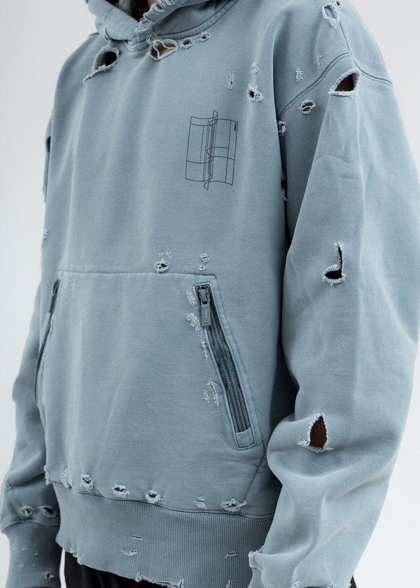 C2H4 Distressed Sculpture Print Hoodie - Light Grey