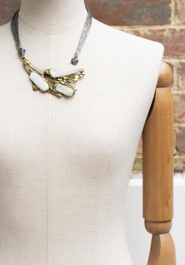 Selen Selenite and Bronze Necklace