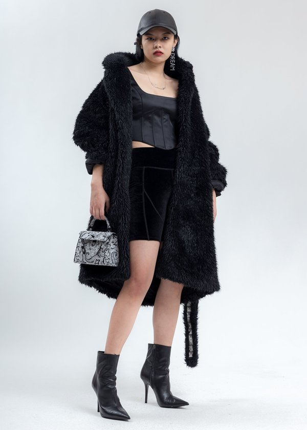 Doublet Spike Fur Long Coat - Black