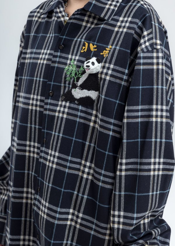 Doublet Puppet Animal Embroidery Check Shirt - Navy
