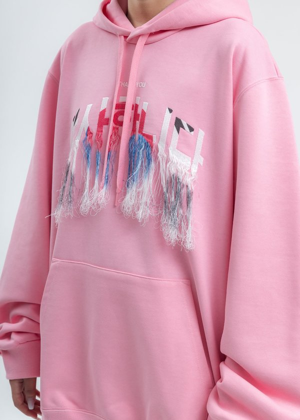 Doublet Thank You Fringe Embroidery Hoodie - Pink