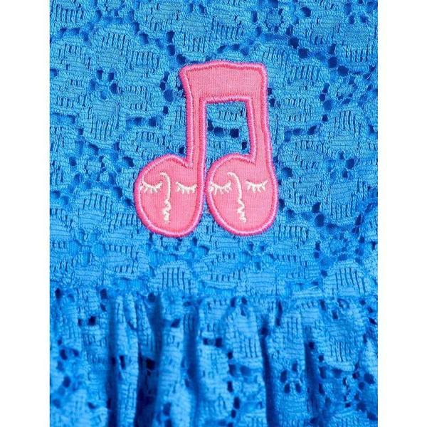 KIDS mini rodini EXCLUSIVE lace frill sleeve dress - blue