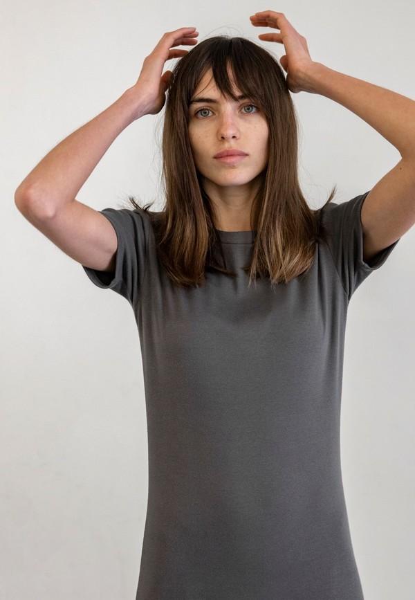 DELFINA BALDA BASIC COLOR SHORT SLEEVED DRESS - CEMENT
