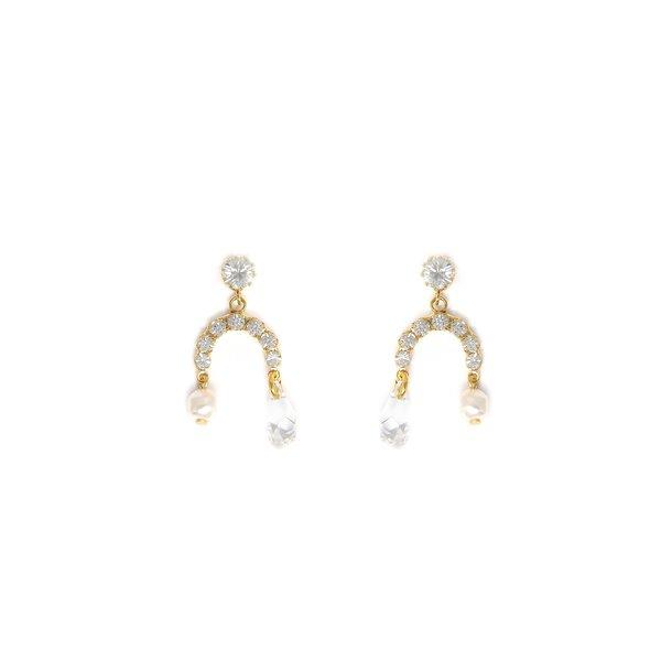 Joomi Lim Mini Chandelier Earrings w/ Crystal & Pearl Charm