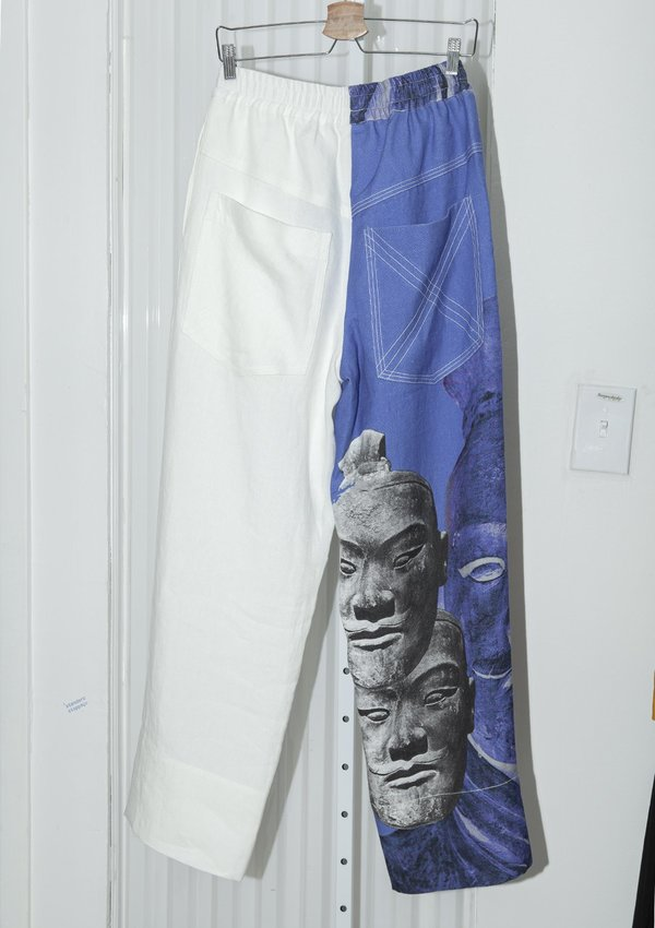 PRONOUNCE TERRA-COTTA WARRIORS Print straight trousers - blue/white