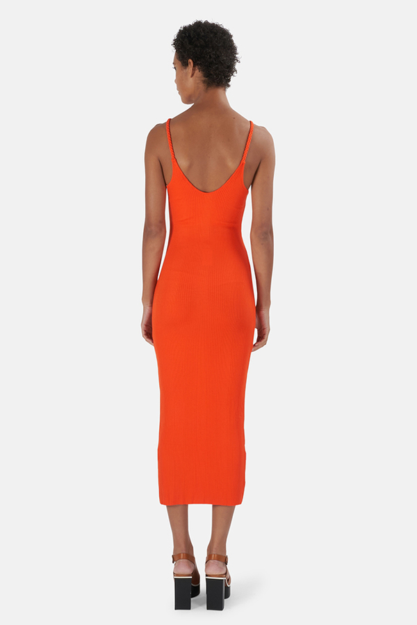 The Range Braided Strap Midi Dress - Lava