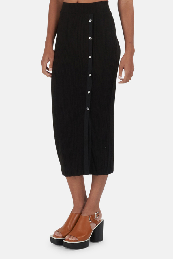 The Range Wave Rib Button-Up Skirt - Black