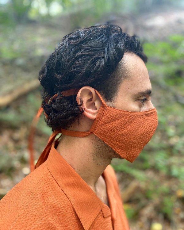 Tony Shirtmakers Japanese Cotton Tonal Seersucker Mask - Burnt Orange