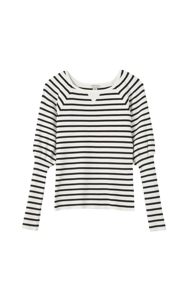Habitual Girl LILY PUFF SLEEVE KNIT TOP - OFF WHITE