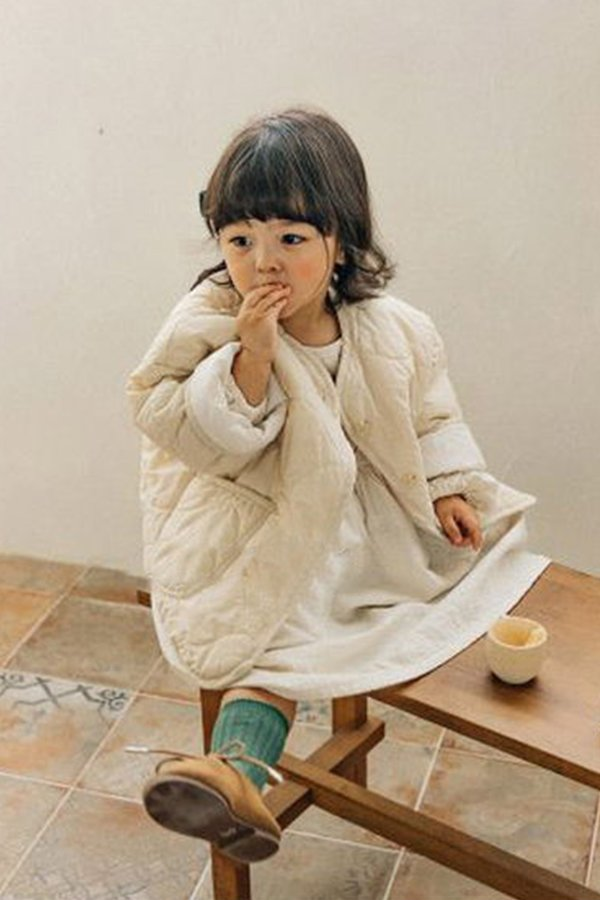 Kids Korean Collective Quilted Jacket - Ivory