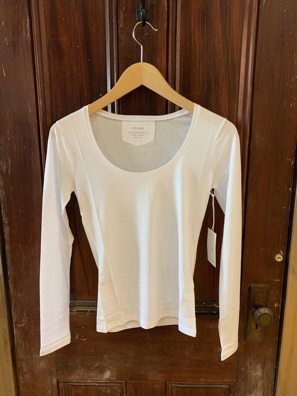 FRAME Denim Le Mid Rise Scoop Long Sleeve - Blanc
