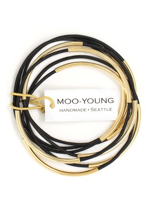 MOO-YOUNG Skinny Leather Bangles - Leather / Gold or Silver Plate