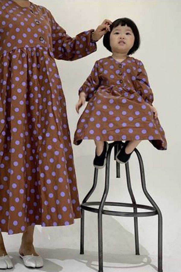 kids Korean Collective DOT DRESS - BROWN