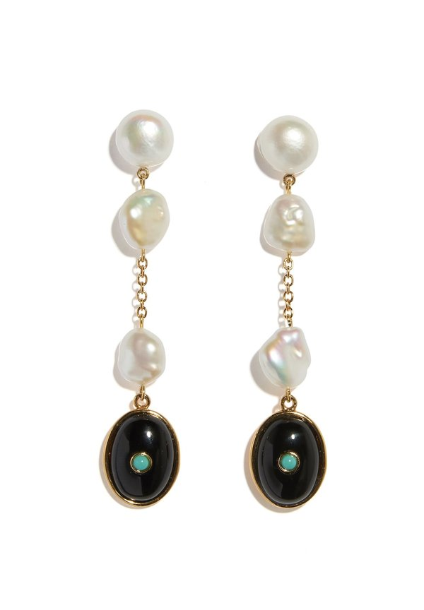 Lizzie Fortunato Bon Vivant Earrings - Pearl / Onyx /Turquoise / Gold Plated Sterling Silver