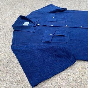 Tony Shirtmakers Fermented Khadi Denim Camp Shirt - Indigo